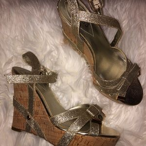 Gold Guess Bow Wedges